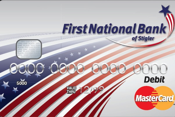 Image of First National Bank of Stigler debit card.